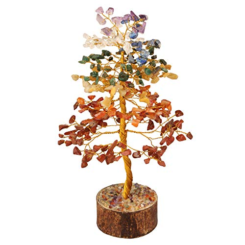 Seven Chakra Golden Wire Gemstone Feng Shui Bonsai Money Tree Size: 10 Inch