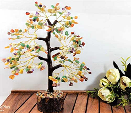 Mix Chakra Gemstone Money Tree Feng Shui Bonsai  Size 10-12 Inch (Golden Wire)