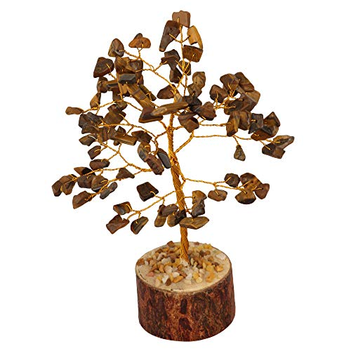 Crocon Tiger Eye Gemstone Money Tree Feng Shui Bonsai for Reiki Healing Chakra Stone Balancing Energy Generator Spiritual Home Interior Office Decor Size: 7-8 Inch