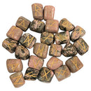 Rhodonite Rune Stone 25 Pcs Set Chakra Balancing  Size: 15-20 mm