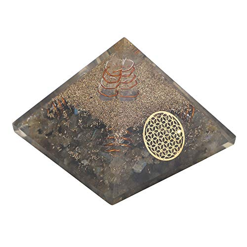 Labradorite Orgone Pyramid 4 Copper Spring Flower of Life Symbol Size: 3-3.5 Inch