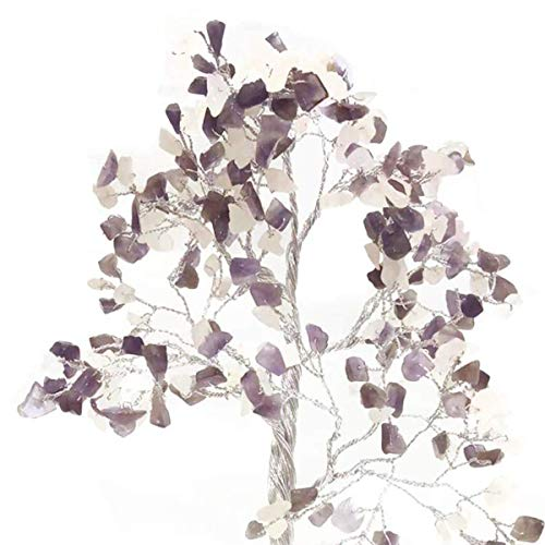 Rose Quartz & Amethyst Quartz Base Gemstone Money Tree Feng Shui Size 10-12 Inch