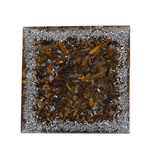Black Tourmaline & Tiger Eye Gemstone Orgone Pyramid with Crystal Point Size: 2.5-3 Inch