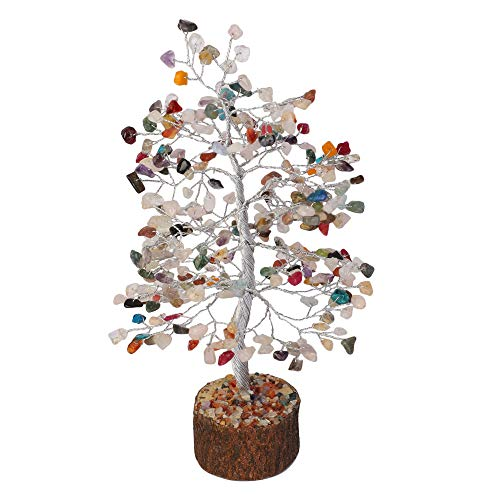 Multi Chakra Silver Wire Gemstone Feng Shui Bonsai Money Tree Size: 10 Inch