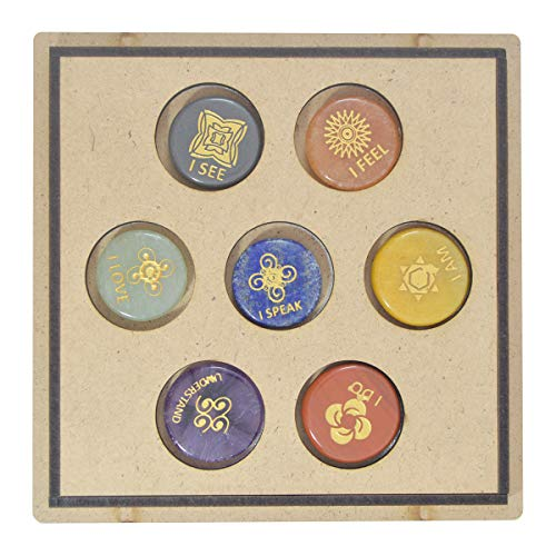 Seven Chakra Gemstone Engraved Round Shape Stone Set