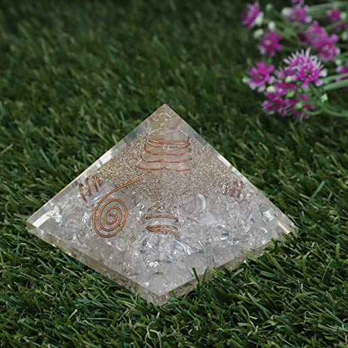 Clear Quartz Orgone Pyramid with Crystal Point & 4 Copper Springs Size: 2.5-3 Inch
