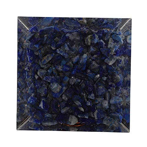 Lapis Lazuli Gemstone Orgone Pyramid with Flower of Life Symbol Size: 2.5-3 Inch