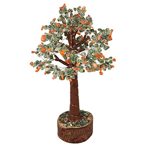 Green Aventurine and Red Carnelian Gemstone Crystal Bonsai Money Tree Size 12-14 Inch (Silver Wire)