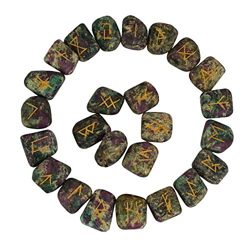 Ruby Zoisite Rune Stones Set with Elder Futhark Alphabet Engraved Symbol Size :- 35-40 mm Approx