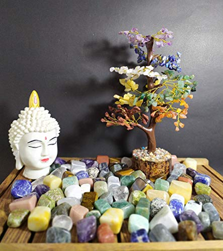 Seven Chakra Natural Healing Gemstone Crystal Bonsai Fortune Money Tree Size 10-12 Inches  (Golden Wire)