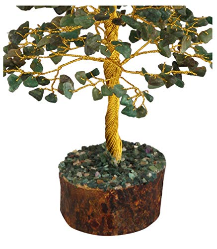 Green Jade Golden Wire Gemstone Feng Shui Bonsai Money Tree Size: 10 Inch