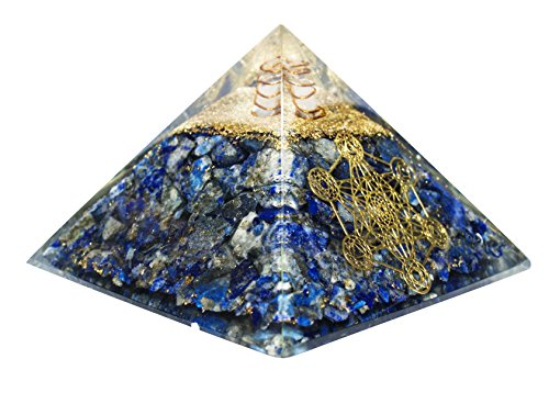 Lapis Lazuli Orgone Pyramid with Crystal Point & Seven Chakra Symbol Size: 3-3.5 Inch