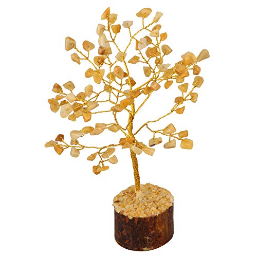 Crocon Yellow Aventurine Gemstone Money Tree Feng Shui Bonsai for Reiki Healing Chakra Stone Balancing Energy Generator Spiritual Home Interior Office Decor Size: 7-8 Inch
