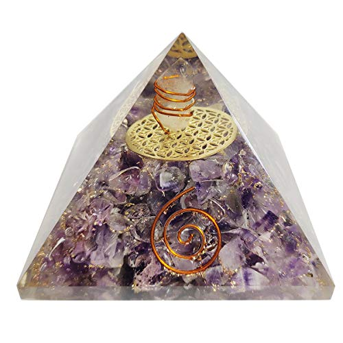 Amethyst Orgone Pyramid Crystal Point Flower of Life Symbol Size: 3-3.5""