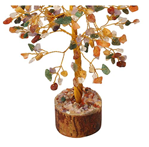 Mix Chakra Golden Wire Gemstone Feng Shui Bonsai Money Tree  Size: 10 Inch