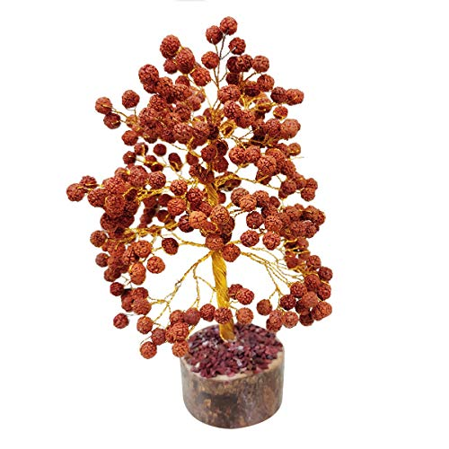 Rudraksha Golden Wire Gemstone  Feng Shui Bonsai Money Tree Size: 10 Inch