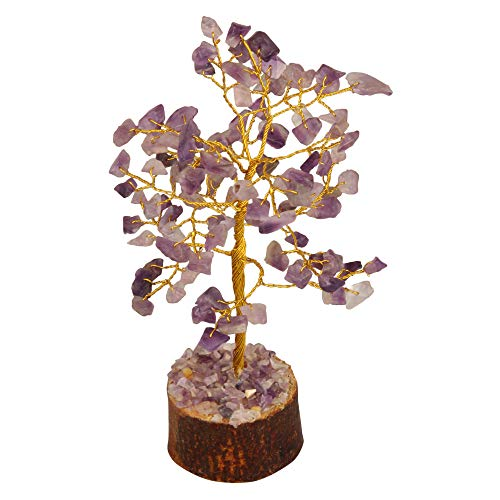 Amethyst Gemstone Money Tree Feng Shui Bonsai Money Tree Golden Wire 7-8 Inch