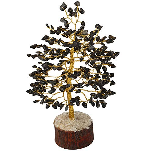 Black Tourmaline Golden Wire Gemstone Money Tree Feng Shui Bonsai