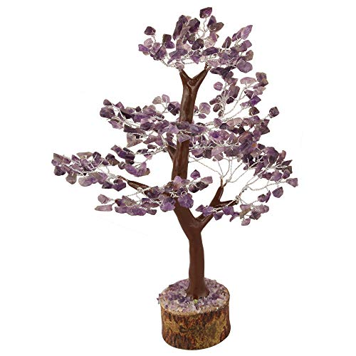 Amethyst Gemstone Money Tree Feng Shui Bonsai Size 10-12 Inch (Silver Wire)