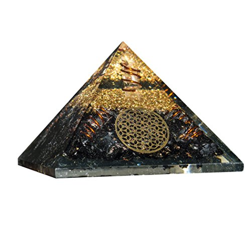 Black Tourmaline Orgone Pyramid 4 Spring Flower of Life Size: 2.5-3 Inch