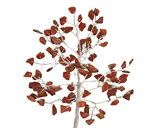 Red Jasper Gemstone Feng Shui Bonsai Money Tree Size: 7-8 Inch Silver Wire