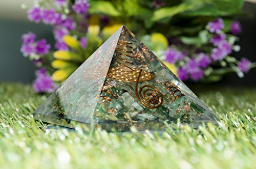 Green Aventurine Orgone Pyramid 4 Copper Spring Flower of Life Size: 2.5-3""
