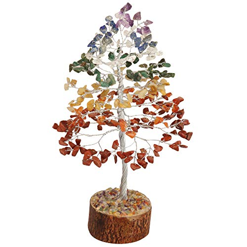 Seven Chakra Silver Wire Gemstone Money Feng Shui Bonsai Tree Size: 10 Inch