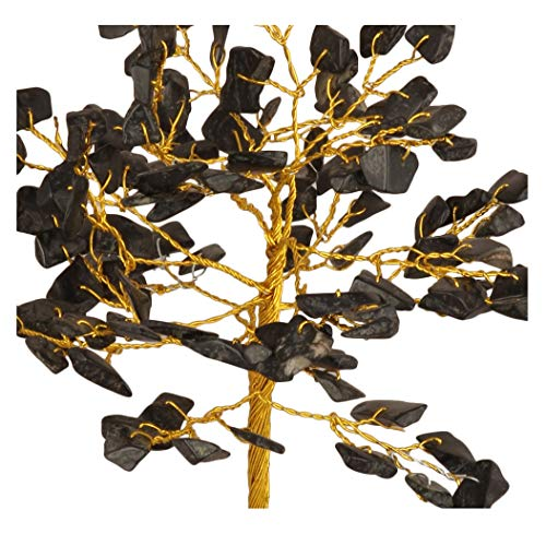 Black Tourmaline Gemstone Money Tree Feng Shui Bonsai Size: 7-8 Inch ( Golden Wire )