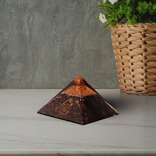 Garnet Orgone Pyramid with Crystal Point for Crystal Size: 3-3.5 Inch