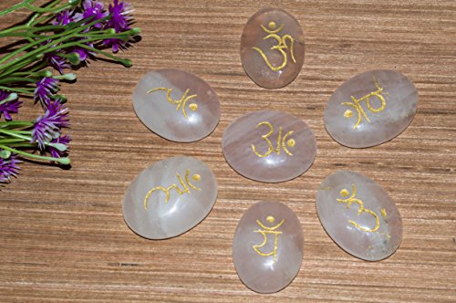 Rose Quartz Gemstone 7 Pcs Engraved Reiki Symbol Oval Shape Stone Size: 30-35 mm