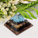 Exclusive Black Tourmaline, Clear Quartz & Turquoise Orgone Pyramid Crystal Point Size: 2.5""