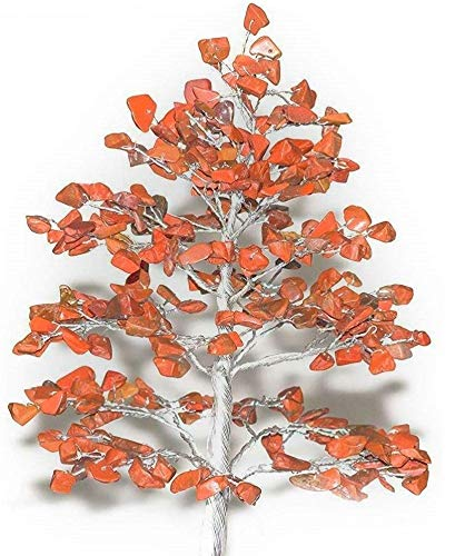 Red Jasper Silver Wire Gemstone Feng Shui Bonsai Money Tree Size: 10 Inch