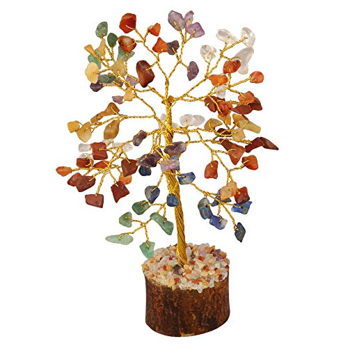 Seven Chakra Gemstone Feng Shui Bonsai Money Tree  Size: 7-8 Inch