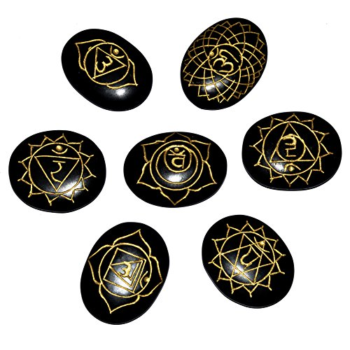 Black Agate Gemstone 7 Pcs Engraved Oval Shape Chakra Symbol Stones Size: 20-25 mm