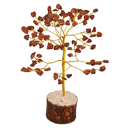 Red Jasper Gemstone Feng Shui Bonsai Money Tree  Size: 7-8 Inch ( Golden Wire )