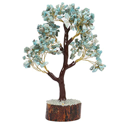 Larimar Gemstone Money Tree Feng Shui Bonsai  Size 10-12 Inch (Golden Wire)