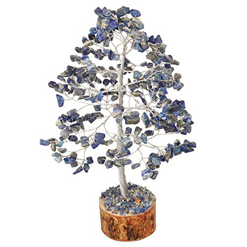 Lapis Lazuli Silver Wire Gemstone Feng Shui Bonsai Money Tree Size: 10 Inch