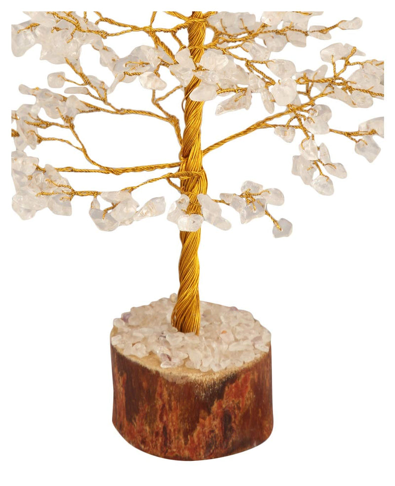 Clear Quartz Golden Wire Gemstone Money Tree Feng Shui Bonsai