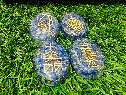 apis Lazuli Gemstone 4 Pcs Engraved Oval Shape Orgone Karuna Symbol Size: 25-30 mm