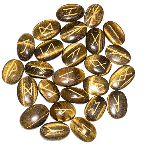 Tiger Eye Gemstone Elder Futhark Alphabet Engraved Symbol Rune Stone 25 pcs Set Size: 25-30 mm