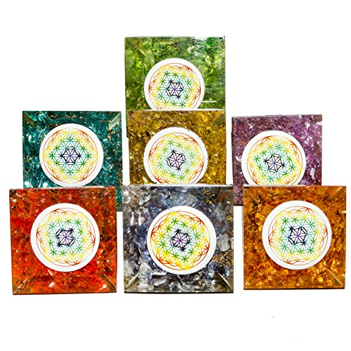 Onyx Orgone Pyramid (set of 7) | Flower of Life Symbol size: 1 Inch