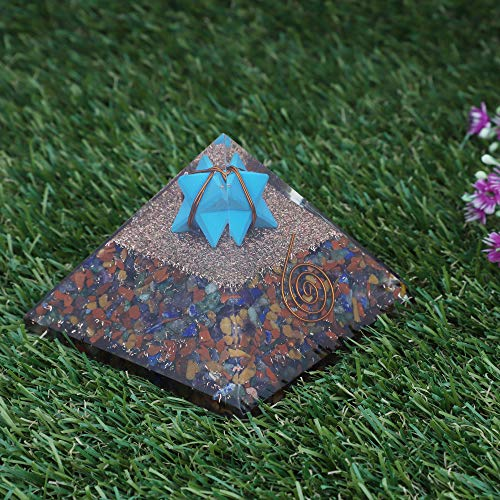 Mix Chakra Gemstone Orgone Pyramid with Turquoise Merkaba  Size: 2.5-3 Inch