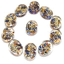 Mix Chakra Engraved Gemstone Focus Hand Carved Size: 35-40 mm (11 Pcs Set)
