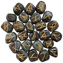 Labradorite Rune Stones Set with Elder Futhark Alphabet Engraved Symbol Size :- 15-20 mm