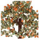 Green Aventurine and Red Carnelian Gemstone Crystal Bonsai  Money Tree Size 12-14 INCH (Golden Wire)