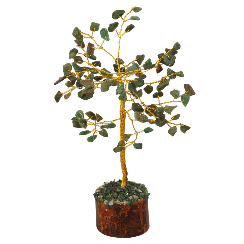 Green Aventurine Gemstone Feng Shui Bonsai Money Tree Size: 7-8 Inch ( Golden Wire )