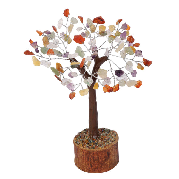 Crocon Natural Gemstone Healing Tree Bonsai for Crystal Reiki Healing Balancing Good Luck Wealth & Prosperity Home Office Decor Spiritual Decor Gift (Mix Chakra M Seal (Silver Wire))