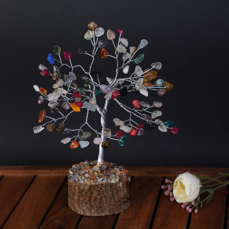 Multi Chakra Gemstone Bonsai Money Tree for Good Luck Size 7-8 inch