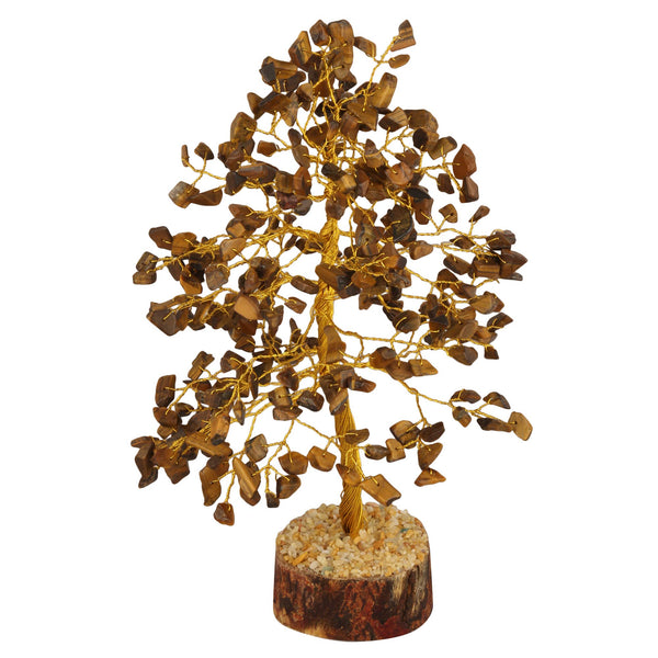 Tiger Eye Golden Wire Gemstone Feng Shui Bonsai Money Tree Size: 10 Inch