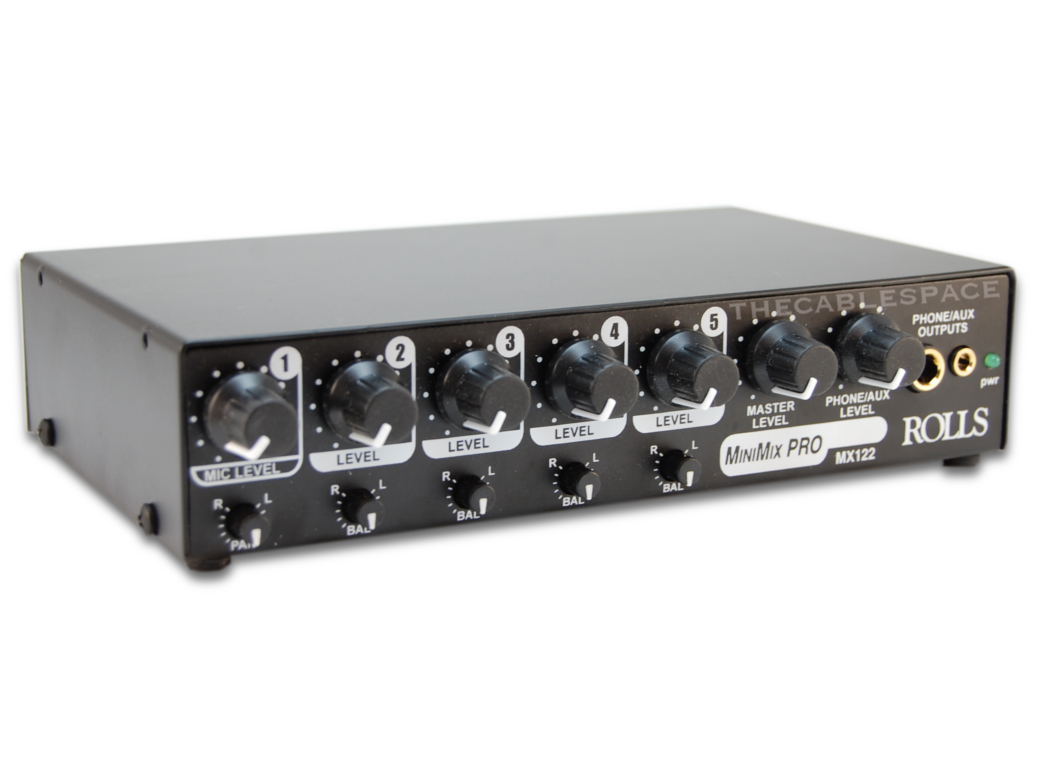 rolls mx122 five channel mixer one microphone and four stereo line level inputs. Black Bedroom Furniture Sets. Home Design Ideas